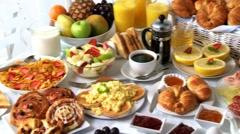 Breakfast buffet Stock Footage