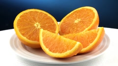 Orange halves and orange wedges Stock Footage