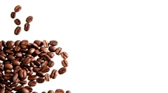 Coffee beans arranged in shape of coffee cup Stock Footage