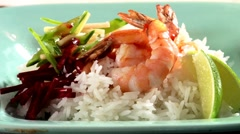 Prawns with rice, beetroot and sweet and sour chilli sauce Stock Footage