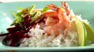 Stock Video Footage of Prawns with rice, beetroot and sweet and sour chilli sauce