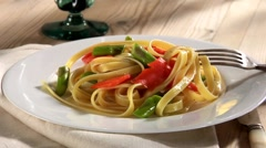Fettuccine with smoked salmon and green asparagus Stock Footage