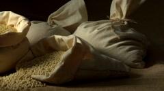 Ptitim (Israeli couscous) in sack Stock Footage