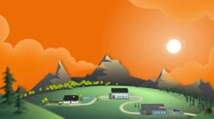 Overview illustrative landscape Stock Footage