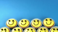 Cupcakes with amusing faces Stock Footage