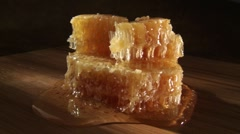 Honeycomb with honey Stock Footage
