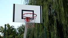 Basketball Hoop Board Net, Playing Basket ball in park, School Outdoor Sport Stock Footage