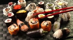 Assorted sushi Stock Footage