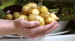 Washing potatoes under running water Stock Footage