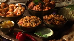 Various Indian dishes - stock footage