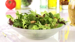 Mixed salad leaves Stock Footage