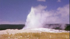 Old Faithful Yellowstone Geyser Wyoming National Park Vintage Film Home Movie Stock Footage