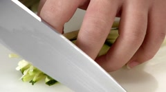 Dicing courgette sticks Stock Footage