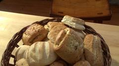 Bread rolls in a bread basket Stock Footage