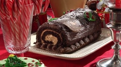 Biscuits and gingerbread house on Christmas cake buffet Stock Footage
