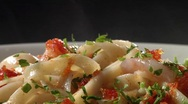 Stock Video Footage of Ribbon pasta with prawns, tomato sauce and parsley
