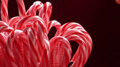 Red and white striped candy canes Stock Footage