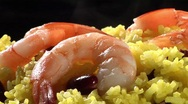 Stock Video Footage of Yellow rice with prawns and red kidney beans