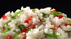 Rice with chopped peppers and lime Stock Footage