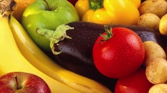 Fresh fruit and vegetables - stock footage