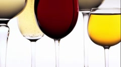 Various types of wine in glasses Stock Footage
