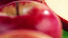 Halved and whole apples - stock footage