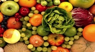Still life with fruit and vegetables Stock Footage