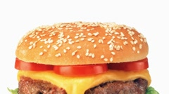 A double cheeseburger - stock footage