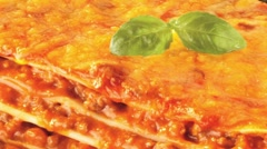 A portion of lasagne Stock Footage