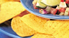 Salsa with nachos Stock Footage
