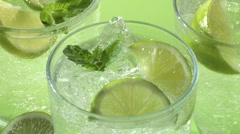 Several glasses of Mojito (detail) Stock Footage