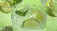 Stock Video Footage of Several glasses of Mojito (detail)
