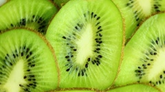 Kiwi slices (macro zoom) Stock Footage