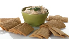 Hummus and crackers - stock footage