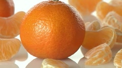 Whole clementines and segments - stock footage