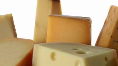 Various types of cheese with crackers Stock Footage