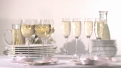Clinking glasses of white wine Stock Footage