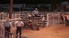 Rodeo bull dogging long run P HD 9810 Stock Footage