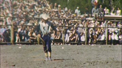 COWBOY ROPE TRICKS Western Rodeo 1950s (Vintage Film 8mm Home Movie) 365 Stock Footage