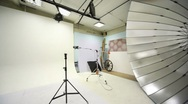 White background inside studio light room with lamps and spotlights Stock Footage