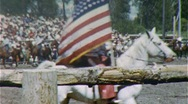 Men American Flag Horses Cowboys Rodeo Arena 1950s Vintage Film Home Movie 364 Stock Footage
