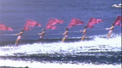 Pretty Girls Carry Flags Unison Water Ski Show 1950s Vintage Film Home Movie 367 Stock Footage