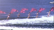 RED FLAG COMMUNISTS Water Ski Show irca 1950 (Vintage Home Movie Footage) 367 Stock Footage