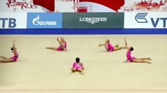 Gymnasts on World Rhythmic Gymnastics Championships Stock Footage