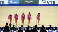 Girls finished their performance in rhythmic gymnastics - stock footage