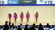 Stock Video Footage of Girls finished their performance in rhythmic gymnastics