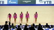 Girls finished their performance in rhythmic gymnastics Stock Footage