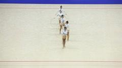 Display of artistic gymnastics hoop Stock Footage