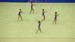 Girls team with ribbons on World Rhythmic Gymnastics Championships - stock footage