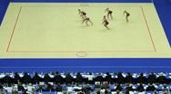 Girls team with hoop on World Rhythmic Gymnastics Championships Stock Footage
